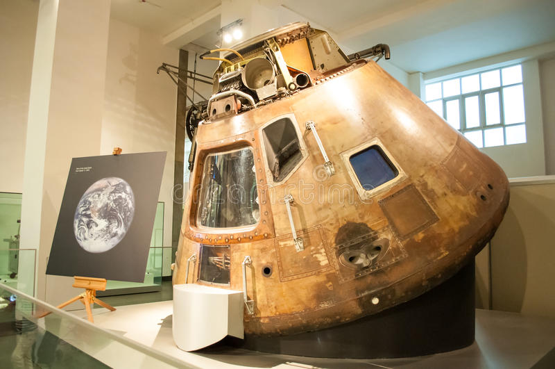 Коммандный модуль Аполлона 10 в науке Londons стоковые изображения