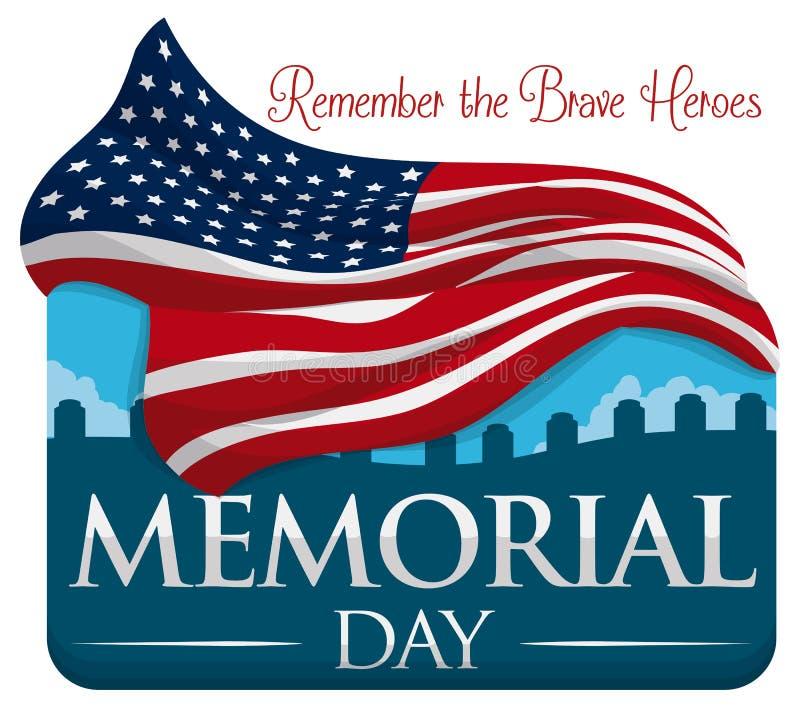 Коммеморативный дизайн на День памяти погибших в войнах с флагом и кладбищем, иллюстрацией вектора иллюстрация штока
