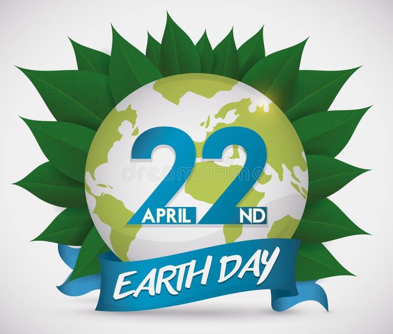 Коммеморативный дизайн на день земли с глобусом над листьями, иллюстрацией вектора иллюстрация вектора