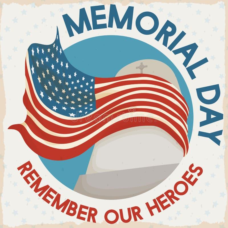 Коммеморативный дизайн с сплетя флагом в надгробной плите на День памяти погибших в войнах, иллюстрация вектора иллюстрация вектора