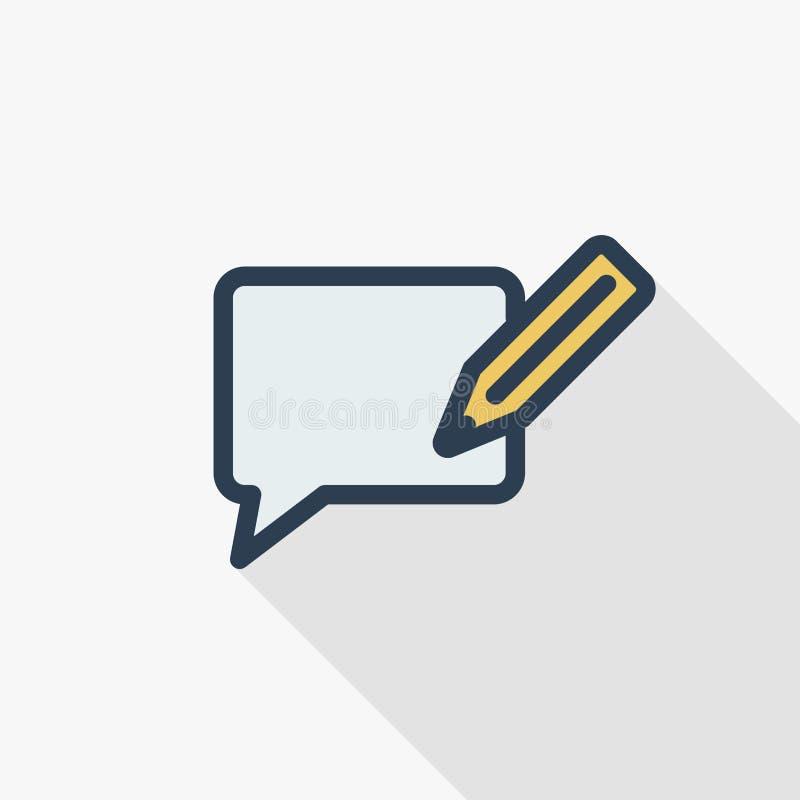 Комментарий писать тонкой линии плоский значок цвета Линейный символ вектора Красочный длинный дизайн тени иллюстрация вектора