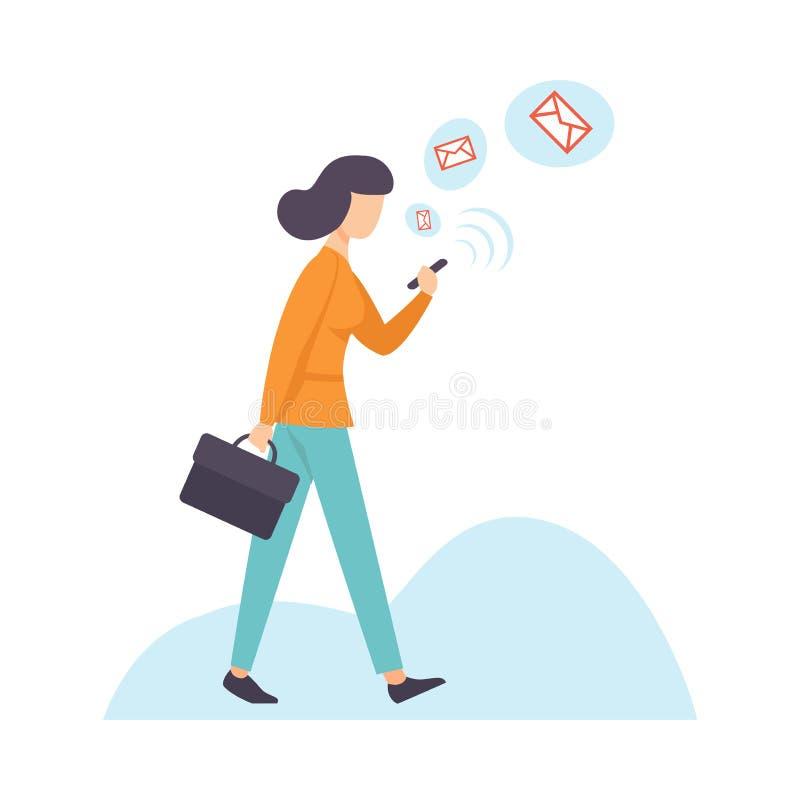 Коммерсантка беседуя используя смартфон, женщина связывая через интернет с мобильным устройством, социальным вектором сети иллюстрация штока