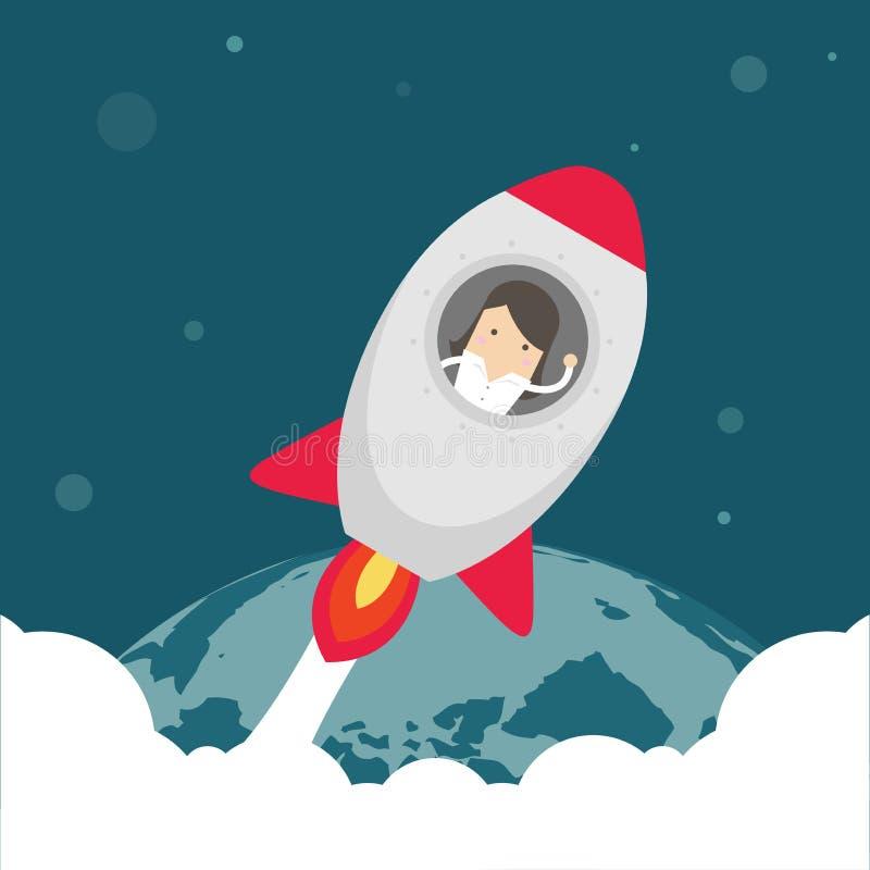 Коммерсантка внутри летания ракеты в космосе иллюстрация штока