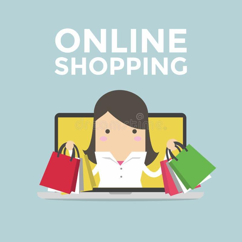 Коммерсантка в компьтер-книжке компьютера, онлайн концепции покупок бесплатная иллюстрация