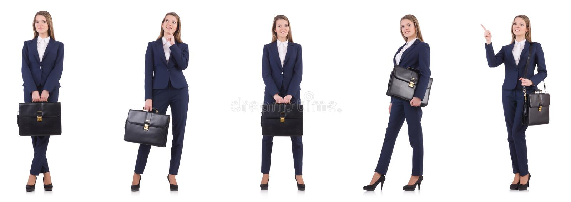 Коммерсантка в костюме изолированном на белизне стоковая фотография