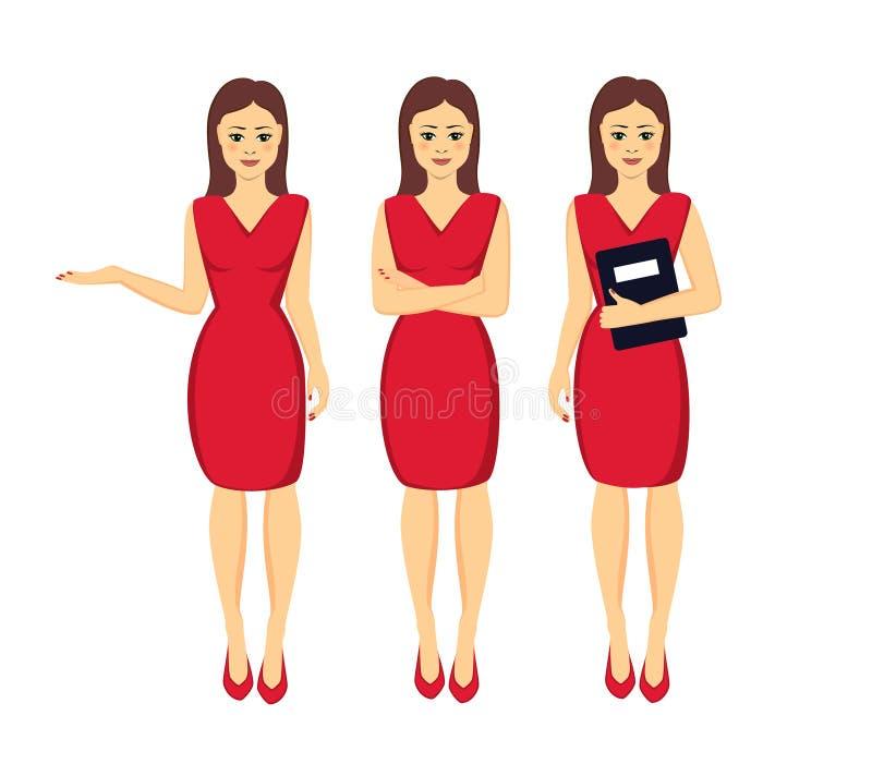 Коммерсантка в красной иллюстрации вектора платья иллюстрация штока