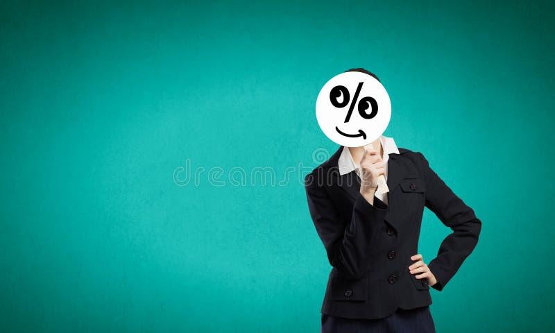 Коммерсантка в маске стоковое изображение rf