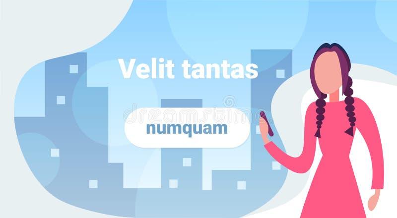 Коммерсантка используя женщину предпосылки городского пейзажа концепции связи app smartphone передвижную онлайн плоско горизонтал бесплатная иллюстрация