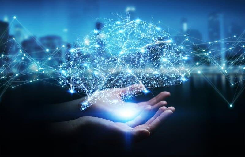 Коммерсантка используя цифровое rende интерфейса 3D человеческого мозга рентгеновского снимка иллюстрация штока