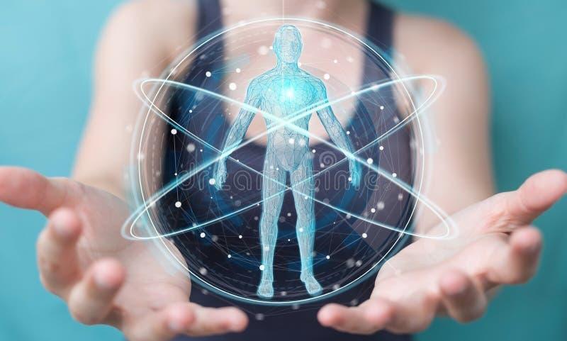 Коммерсантка используя цифровой интерфейс 3D r развертки человеческого тела рентгеновского снимка иллюстрация вектора