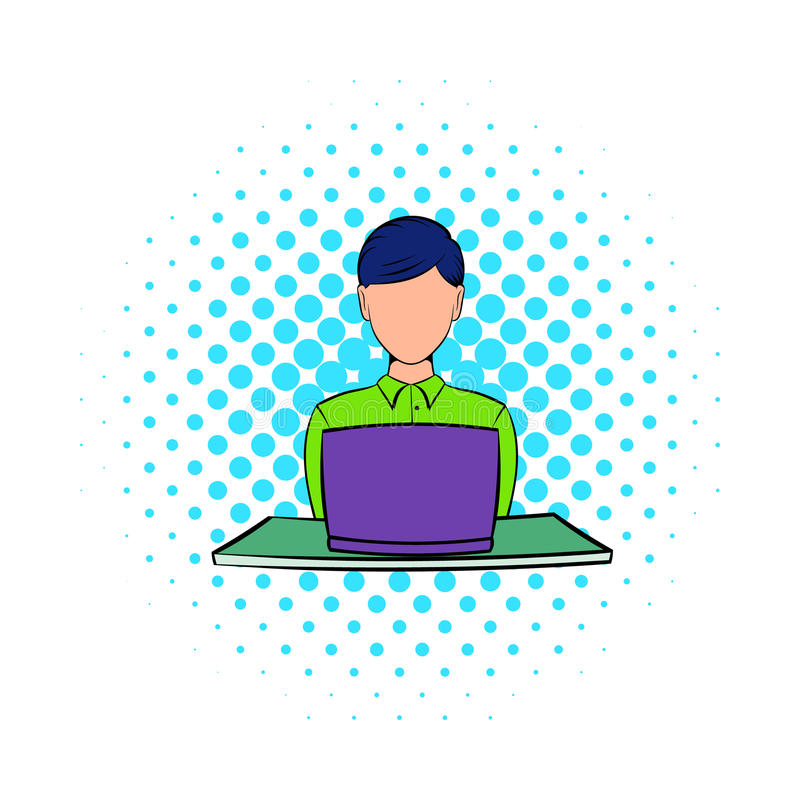 Коммерсантка используя значок компьтер-книжки, стиль комиксов иллюстрация вектора