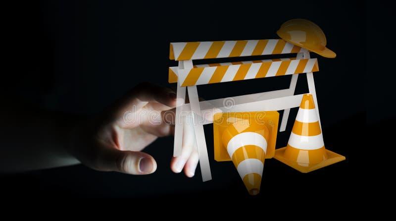 Коммерсантка используя цифровой перевод 3D под знаком конструкции иллюстрация вектора