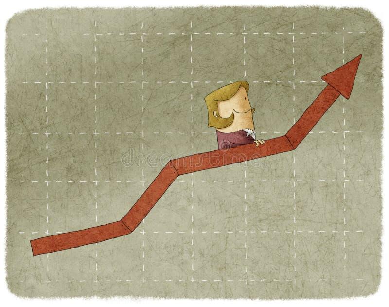 Коммерсантка идя вверх в эскалатор диаграммы иллюстрация штока