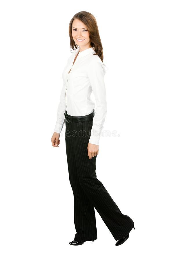 коммерсантка над гуляя белизной стоковая фотография rf