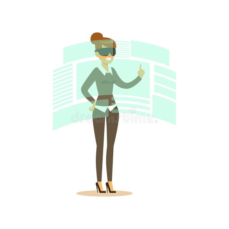 Коммерсантка нося шлемофон VR работая в цифровой имитации и взаимодействуя с 3d визуализированием, будущая технология иллюстрация штока