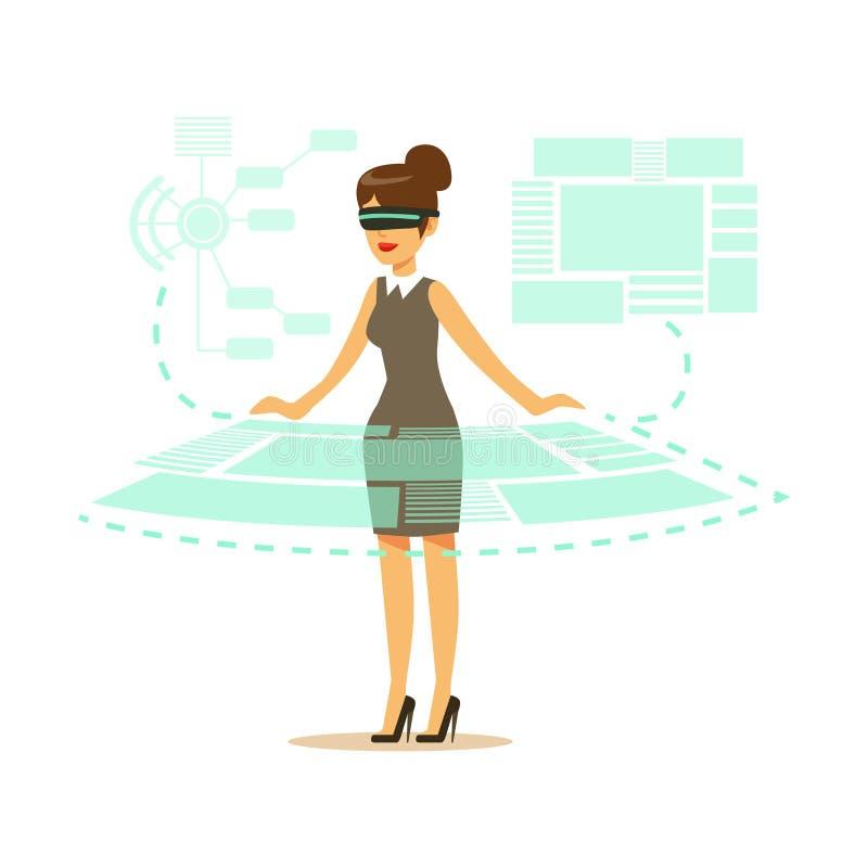 Коммерсантка нося шлемофон VR работая в цифровой имитации и взаимодействуя с 3d визуализированием, будущая технология иллюстрация вектора