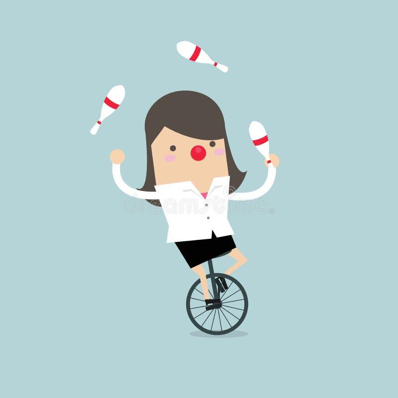 Коммерсантка перед большой сетью передачи данных Коммерсантка жонглируя пока задействующ с красным носом иллюстрация штока