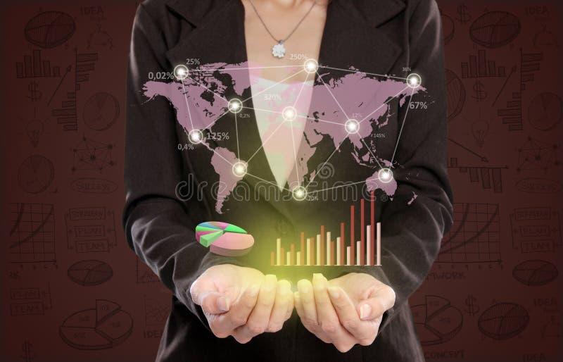 Download Коммерсантка показывая концепцию деловых связей Стоковое Фото - изображение насчитывающей представление, футуристическо: 37929136