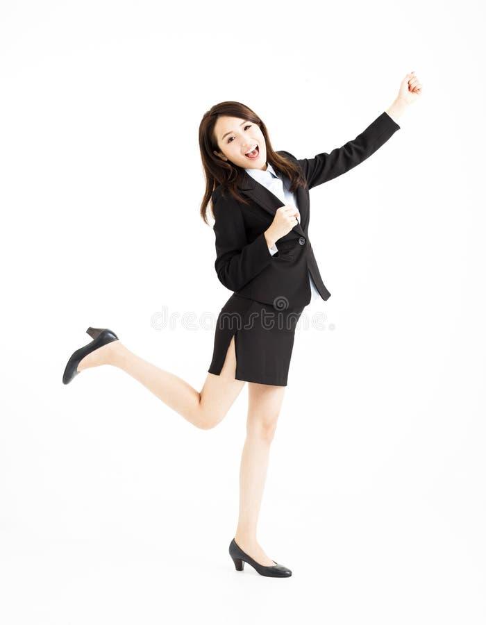 Коммерсантка празднуя и танцуя стоковая фотография rf