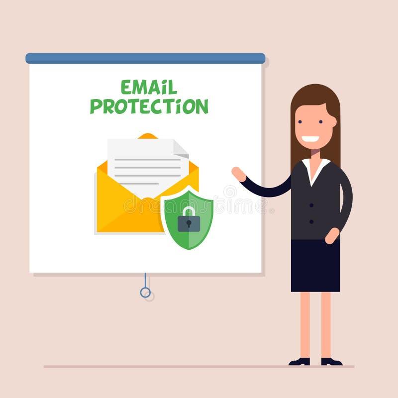 Коммерсантка проводит тренировочный семинар или конференцию на теме безопасности электронной почты Предохранение от электронной п иллюстрация вектора