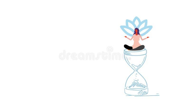 Коммерсантка размышляя сидя положение лотоса на девушке концепции контроля времени крайнего срока дозора песка в эскизе представл иллюстрация вектора