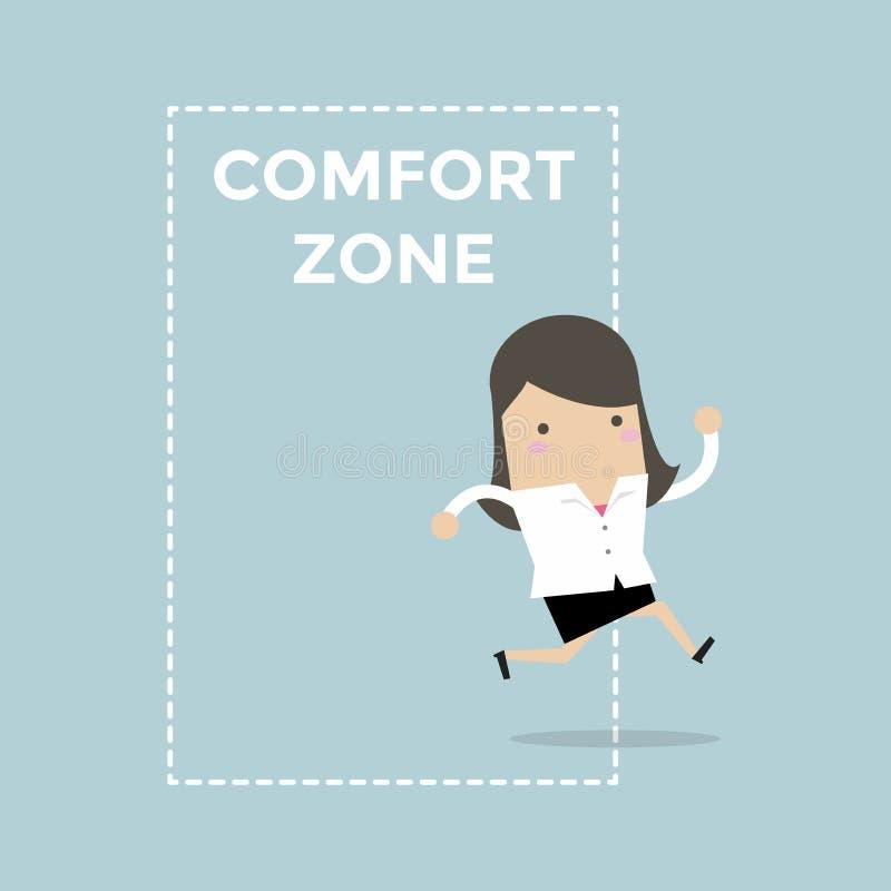 Коммерсантка скача из зоны комфорта к успеху бесплатная иллюстрация