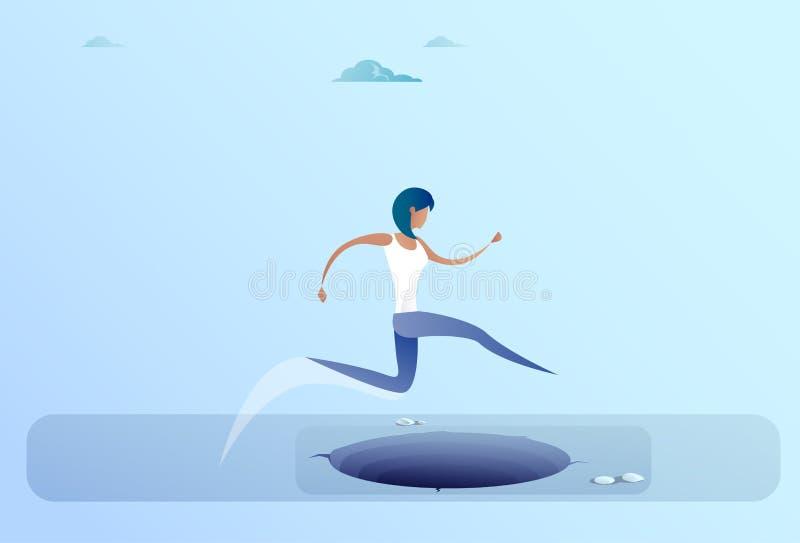 Коммерсантка скачет над зазором к концепции риска бизнес-леди успеха иллюстрация штока