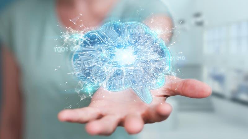 Коммерсантка создавая искусственный интеллект в цифровом brai бесплатная иллюстрация