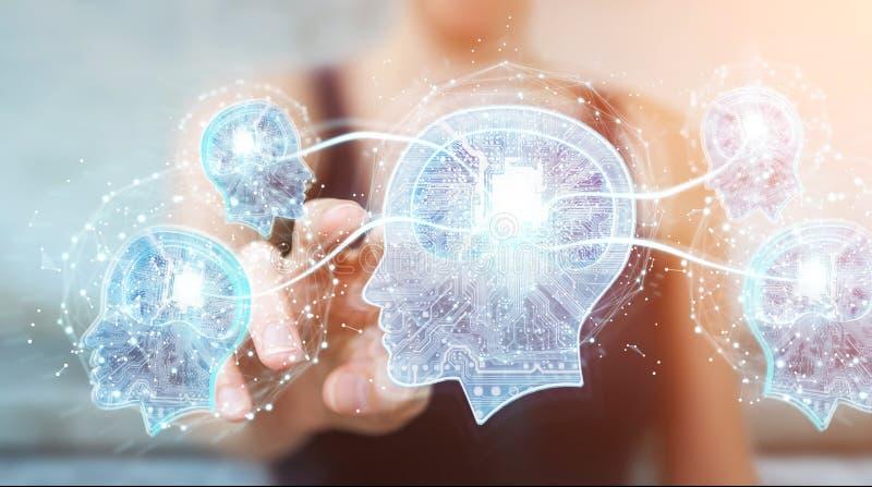 Коммерсантка создавая перевод искусственного интеллекта 3D иллюстрация вектора