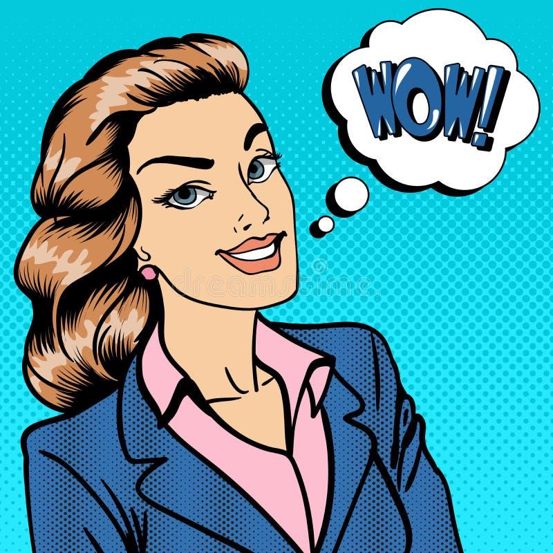 коммерсантка счастливая повелительница 37 дел Удивленная женщина говоря вау иллюстрация штока