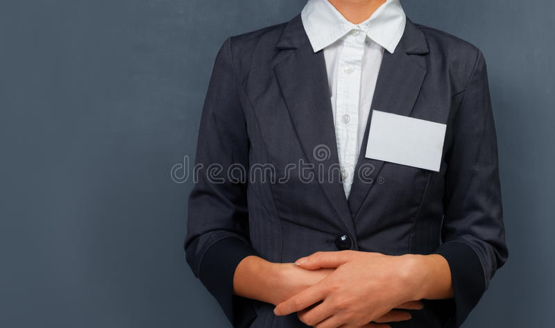 Коммерсантка с биркой имени стоковая фотография rf