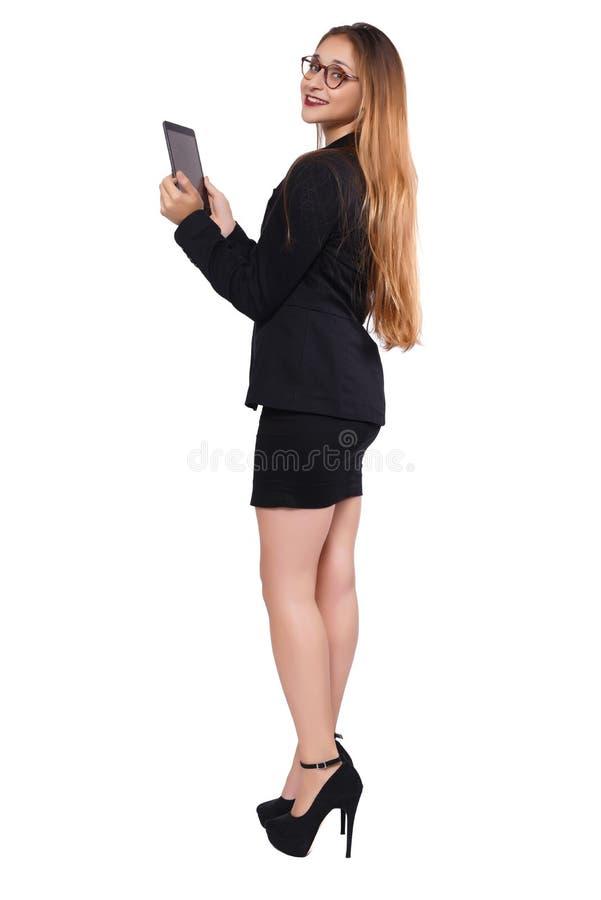 Коммерсантка с таблеткой стоковая фотография rf