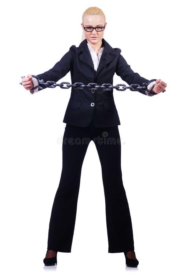 Коммерсантка с цепью стоковая фотография rf