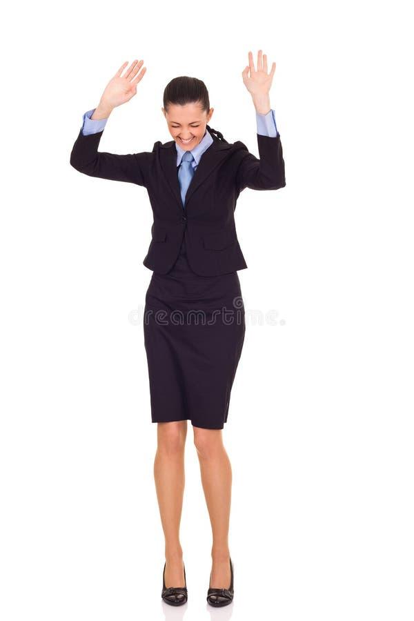коммерсантка танцуя успешный победитель стоковое фото rf