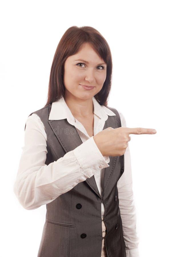 Коммерсантка указывая ее перст на пустой стоковое фото rf