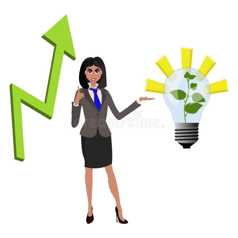 Коммерсантка Beatifull указывая на успешную идею от лампы с растя зеленым растением и стрелки araising вверх r иллюстрация вектора