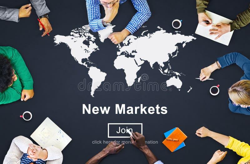 Коммерция новых рынков продавая концепцию маркетинга глобального бизнеса иллюстрация вектора