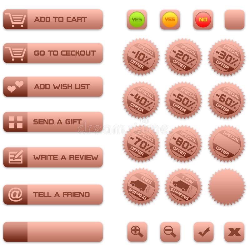 коммерция e кнопок значков иллюстрация вектора