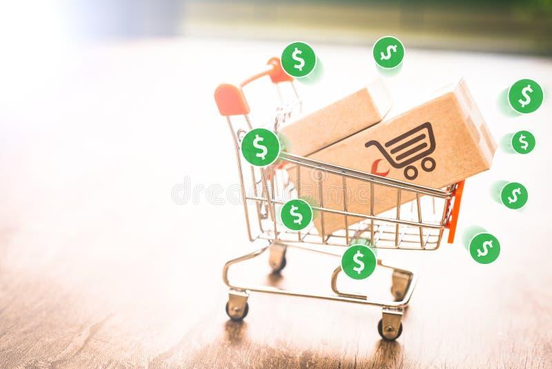 Коммерция e, покупает и продает онлайн, виртуальную корзину стоковое фото rf