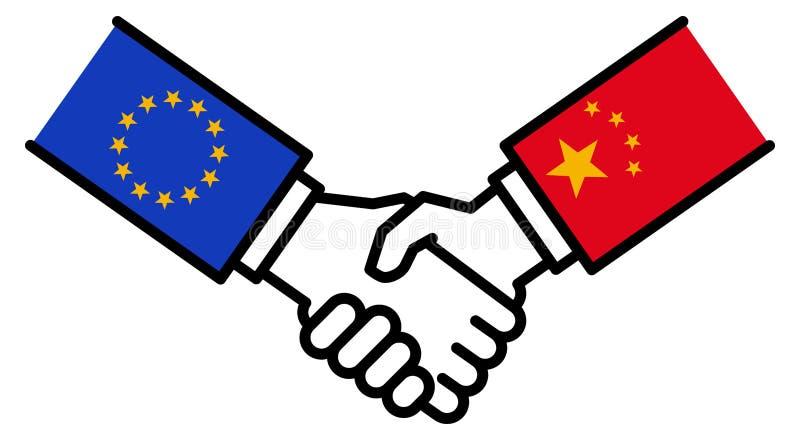 Коммерческая сделка ЕС КИТАЯ, торговое соглашение, рукопожатие, приятельство, концепция, график иллюстрация штока