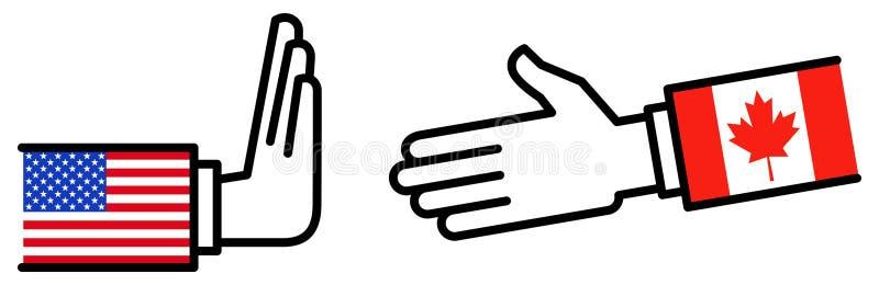 Коммерческая сделка США КАНАДЫ USMCA, торговое соглашение, возражение, переговоры, концепция иллюстрация штока
