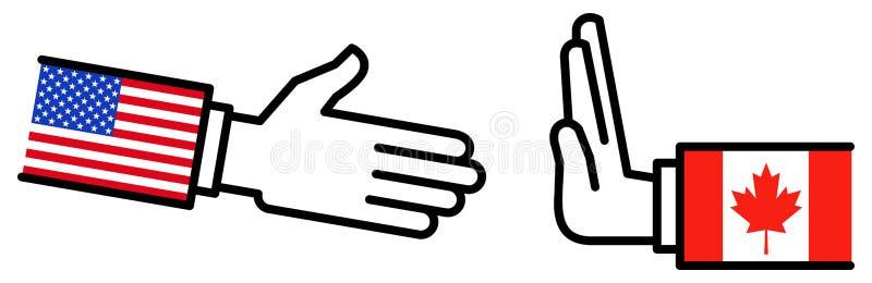 Коммерческая сделка США КАНАДЫ USMCA, торговое соглашение, возражение, переговоры, концепция, график иллюстрация вектора