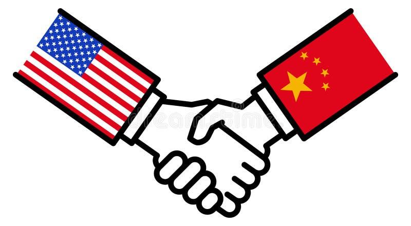Коммерческая сделка США КИТАЯ, торговое соглашение, рукопожатие, приятельство, концепция, график иллюстрация штока