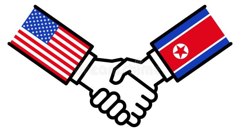 Коммерческая сделка США КОРЕЙСКОЙ СЕВЕРНОЙ КОРЕИ, торговое соглашение, рукопожатие, приятельство, концепция, график бесплатная иллюстрация