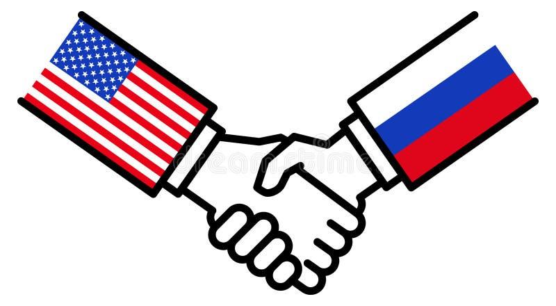 Коммерческая сделка США РОССИИ, торговое соглашение, рукопожатие, приятельство, концепция, график бесплатная иллюстрация