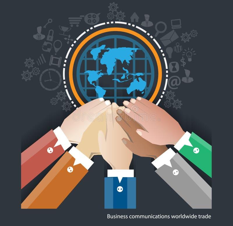 Коммерческие рынки вектора всемирные Сотрудничает бизнесмен иллюстрация штока