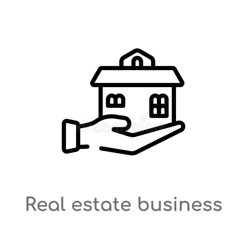 коммерческий дом недвижимости плана на значке вектора руки изолированная черная простая линия иллюстрация элемента от концепции д бесплатная иллюстрация