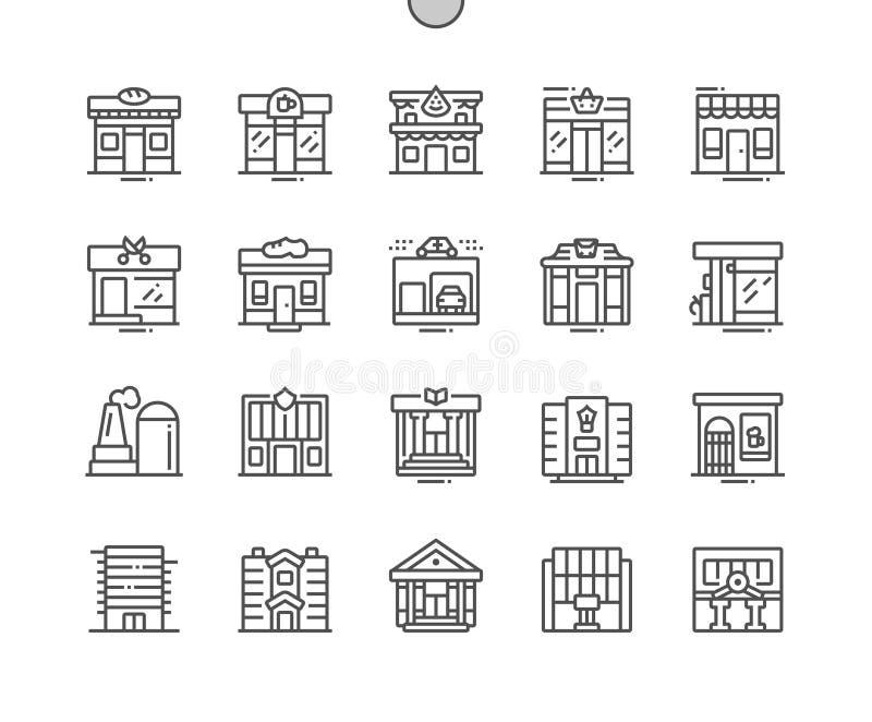 Коммерчески здания Хорошо произвели тонкую линию значки иллюстрация штока