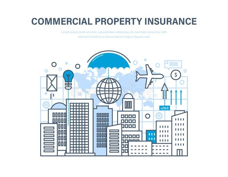 Коммерчески страхование собственности Кредитовать, финансовая обеспеченность, вклад и свойство иллюстрация вектора