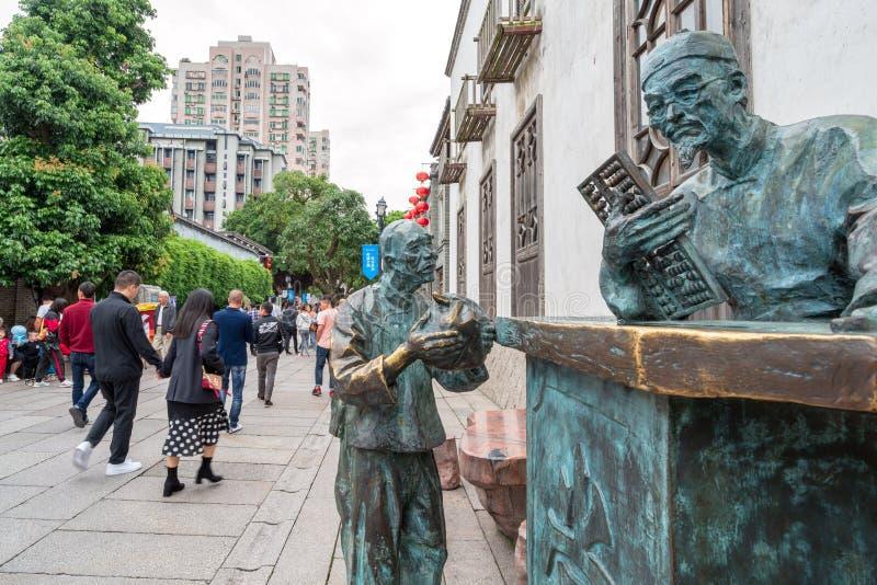 Коммерчески улица в старом городке, Фучжоу, Китай стоковые изображения